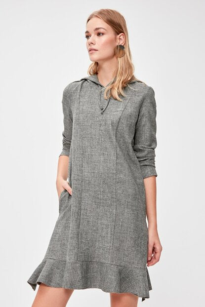 Women's Hooded Grey Short Dress
