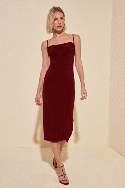 Women's Cowl Neck Claret Red Dress