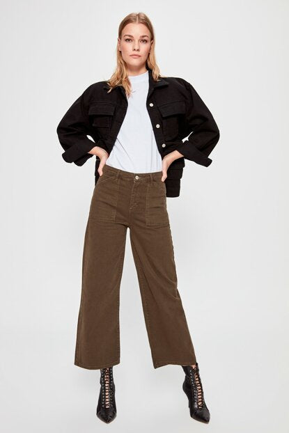 Women's High Waist Pocket Wide Legs Pants