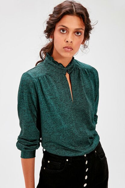 Women's Stand-up Collar Green Blouse