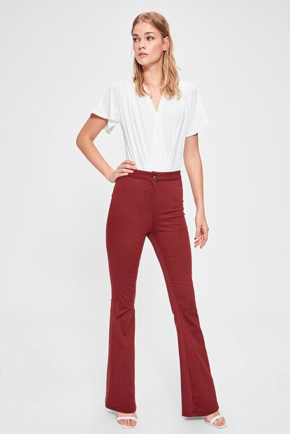 Women's Claret Red Flare Pants