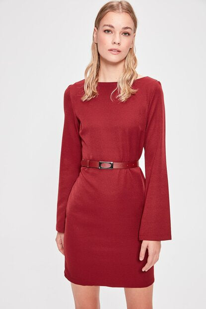 Women's Belted Claret Red Short Dress