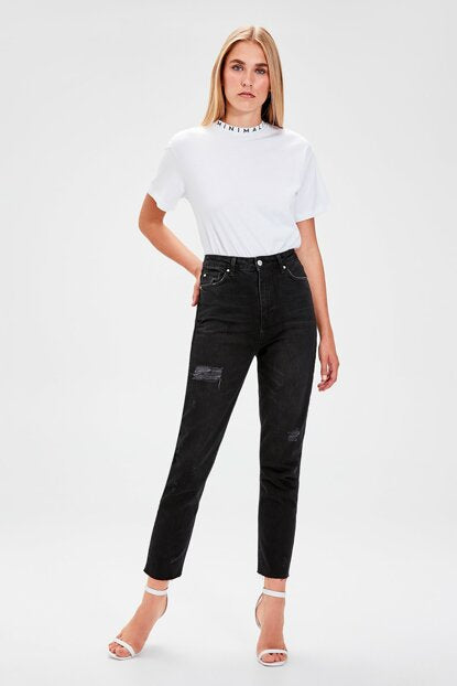 Women's High Waist Ripped Black Mom Jeans
