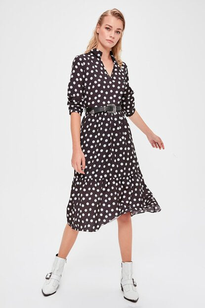Women's Belted Polka-Dot Black Dress