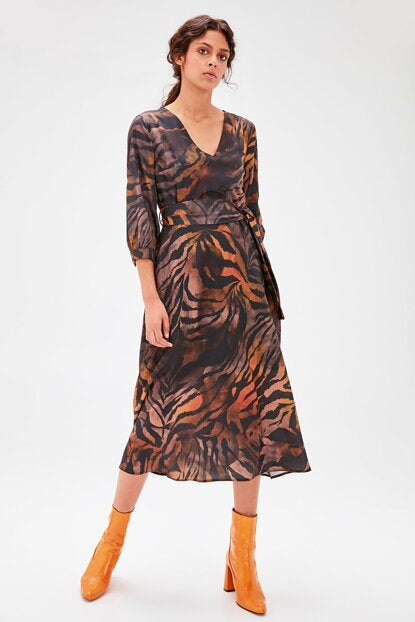 Women's Belted Patterned Multi-color Dress