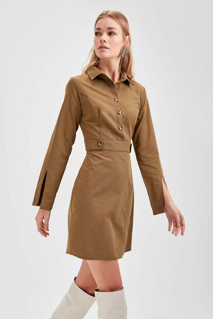 Women's Button Khaki Dress