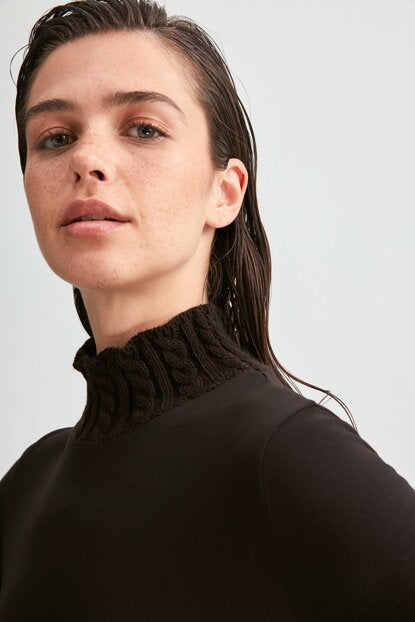 Women's Tricot Collar Black Blouse