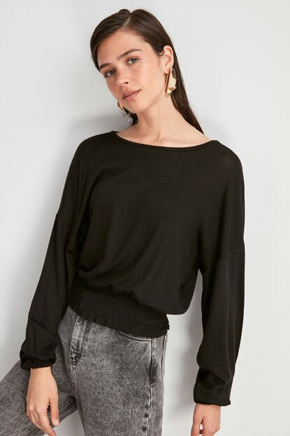 Women's Gimped Black Blouse