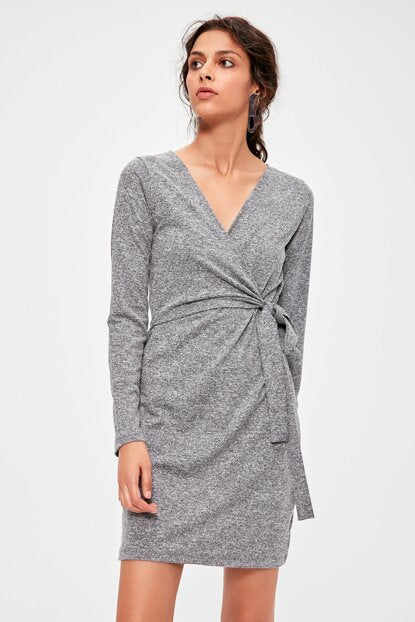 Women's Wrap Grey Short Dress