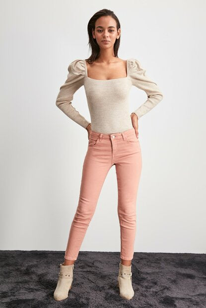 Women's Normal Waist Powder Rose Skinny Jeans