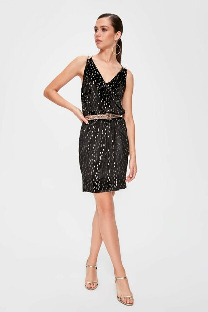 Women's Patterned Black Short Dress