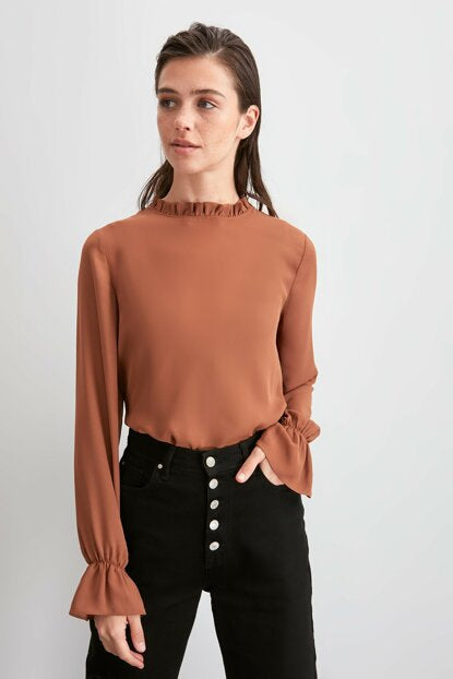 Women's Sleeves Detail Brown Blouse