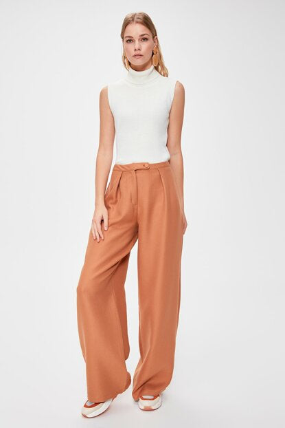 Women's Wide Legs Brown Pants