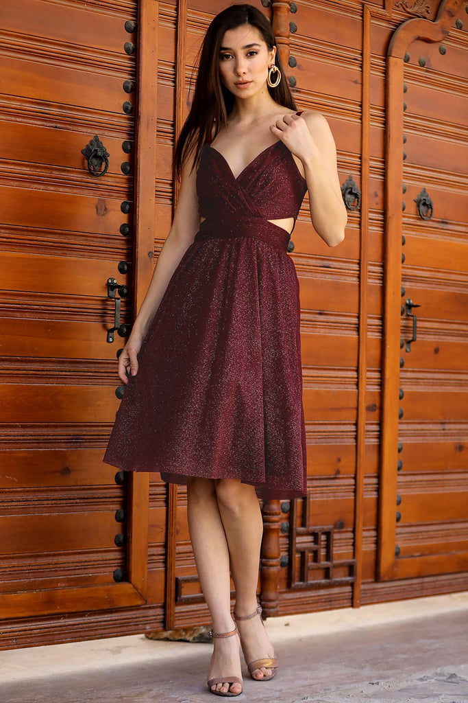 Women's Glitter Claret Red Evening Dress