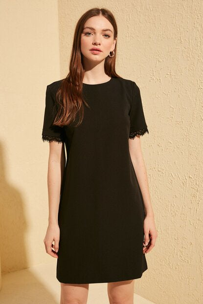 Women's Lace Detail Black Dress
