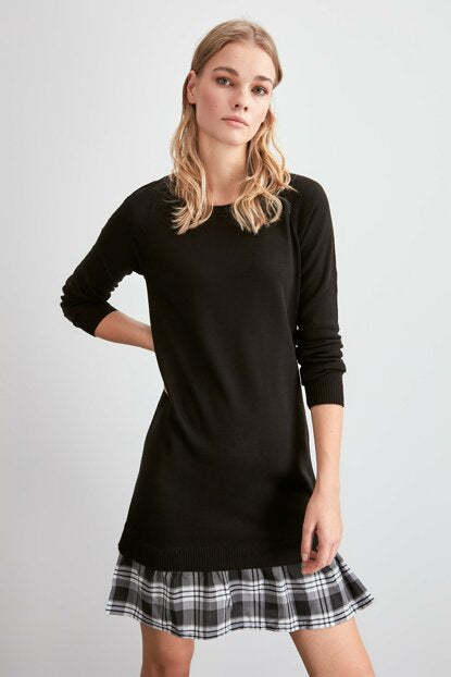 Women's Black Tricot Short Dress