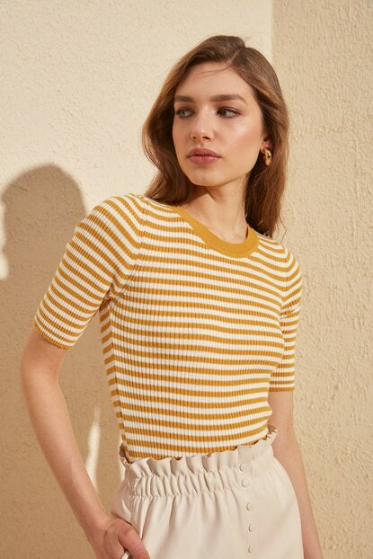 Women's Mustard Striped Tricot Blouse