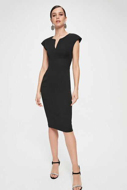 Women's Collar Detail Black Short Dress
