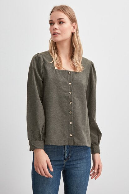 Women's Square Collar Khaki Shirt