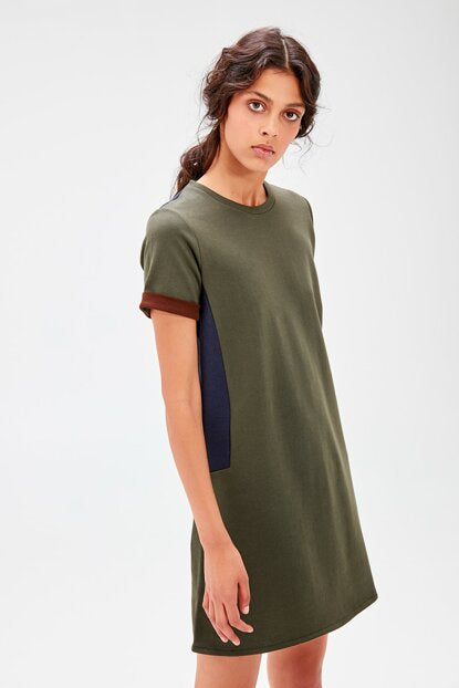 Women's Color Block Khaki Dress