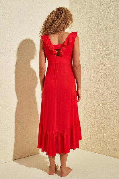 Women's Ruffle Collar Red Dress