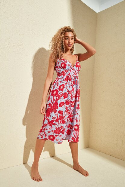 Women's Gimped Waist Floral Pattern Red Dress