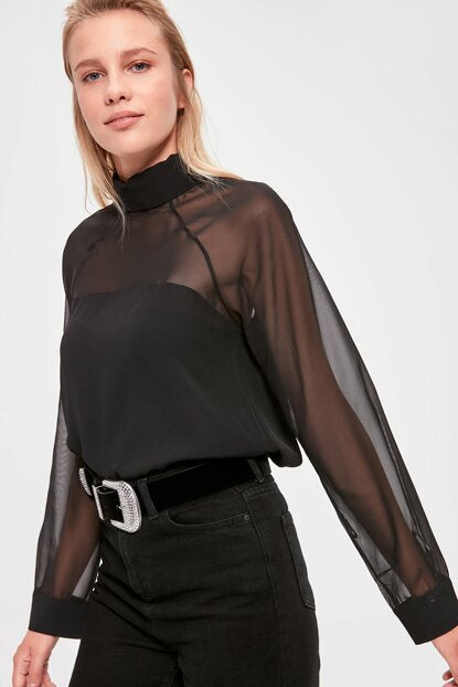 Women's Collar Detail Black Blouse