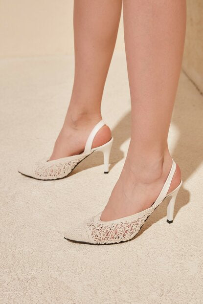 Women's White High Heels Shoes