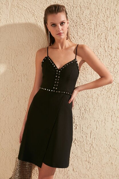 Women's Accessory Detail Black Short Dress