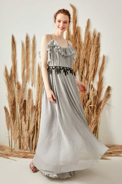 Women's Belted Grey Evening Dress