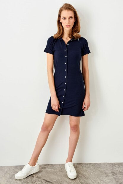 Women's Button Navy Blue Dress