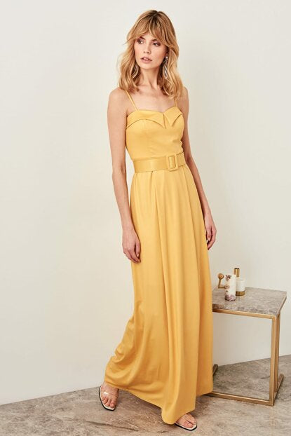 Women's Neck Detail Belted Yellow Evening Dress
