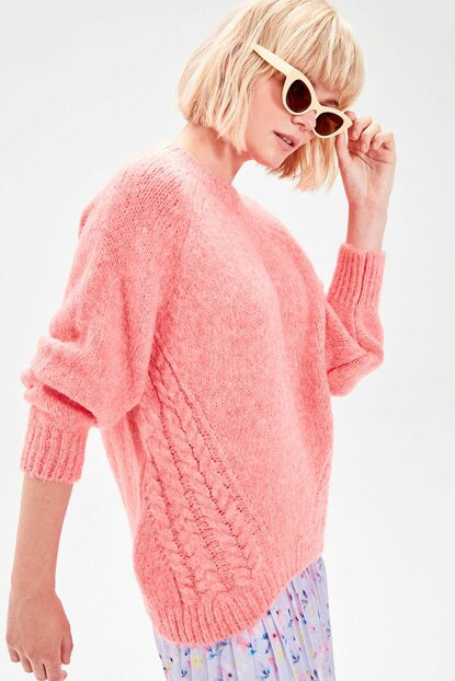 Women's Pink Tricot Sweater