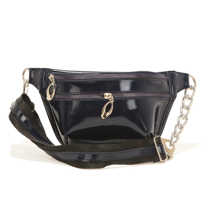 Women's Navy Blue Patent Leather Waist Bag