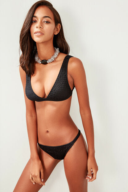 Women's Gimped Black Bikini Briefs