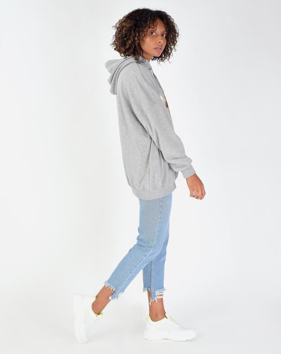 Women's Hooded Printed Grey Melange Sweatshirt