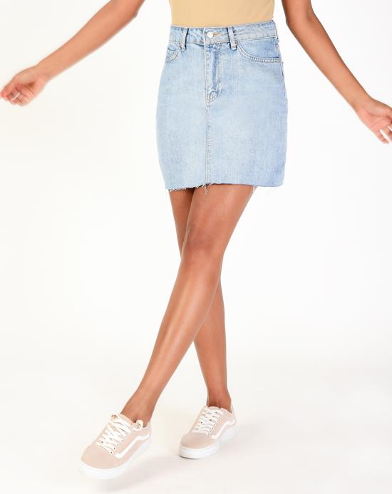 Women's Pocket Blue Denim Skirt
