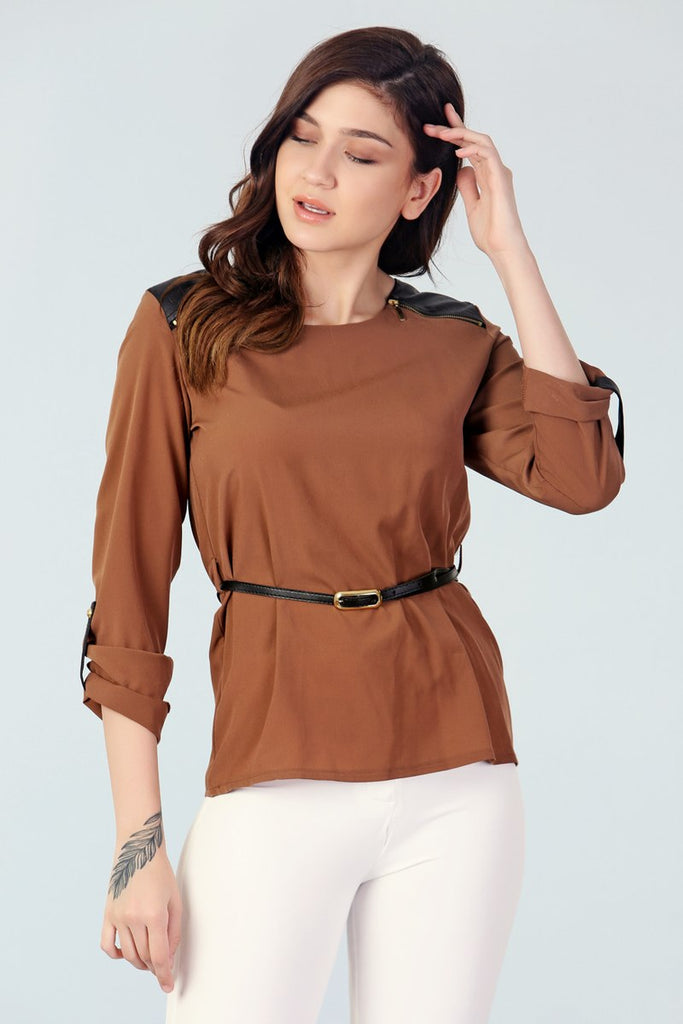 Women's Belted Camel Blouse