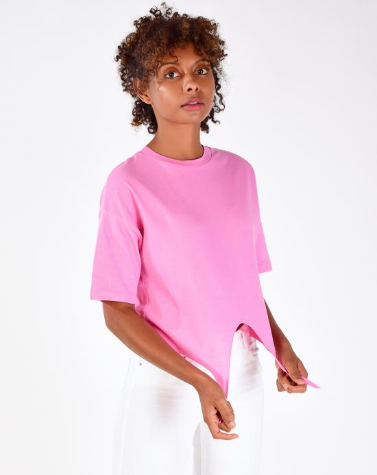 Women's Tie Front Basic Pink T-shirt