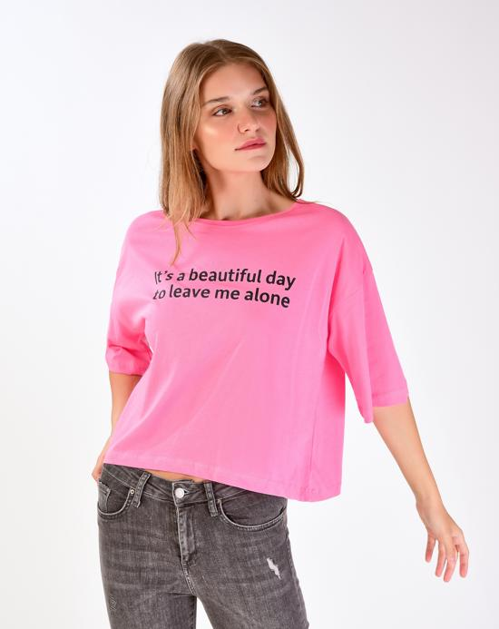 Women's Text Print Relax-Fit T-shirt