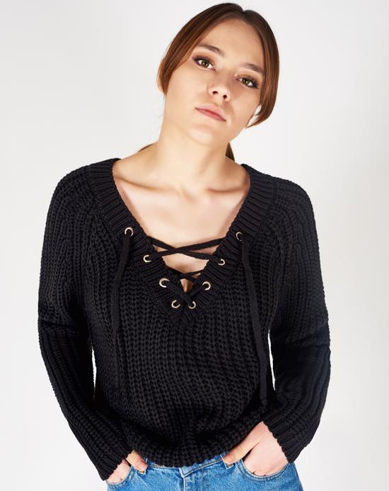 Women's Lace-up V Neck Sweater