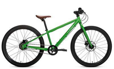 The Meerkat is a deft, sleek ride. Front and rear rack mounts and horizontal dropouts with a derailleur hanger offer unparalleled versatility. Internally geared 5-speed hub is impervious to the rigors your elementary schooler will subject it to.