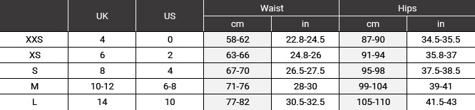 Size chart for trousers shorts and skirt SS20