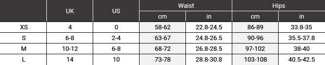 Size chart for trousers and shorts before SS20