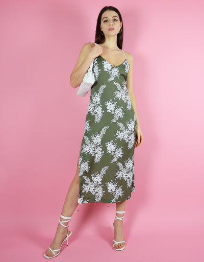 blonde gone rogue's floral midi slip dress in green