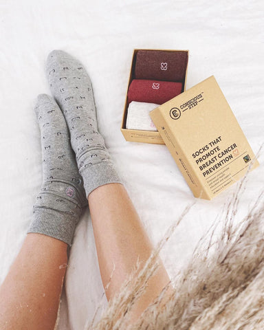 sustainably chic socks that support the fight against breast cancel
