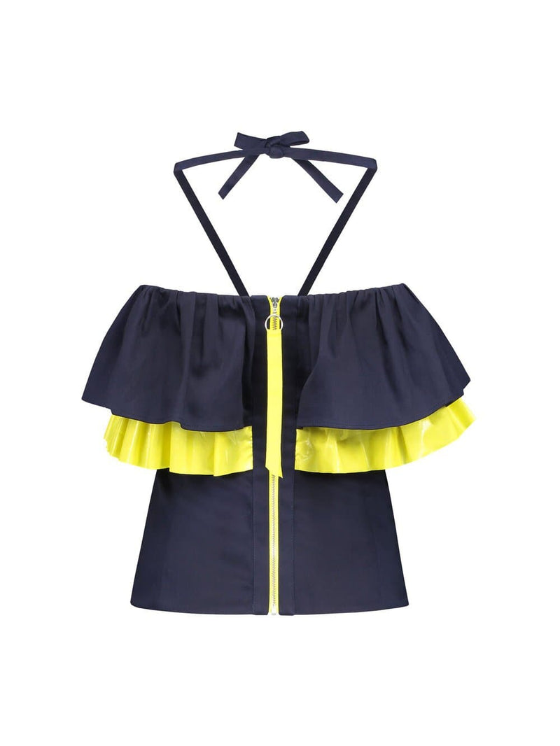 Back of strapless halter top with navy blue and yellow ruffles around the bust and yellow zipper