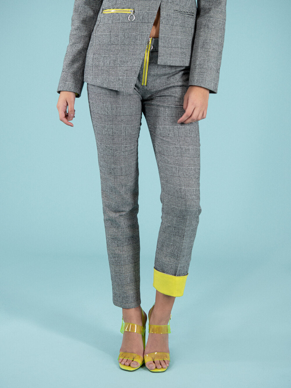Office suitpants with yellow hem