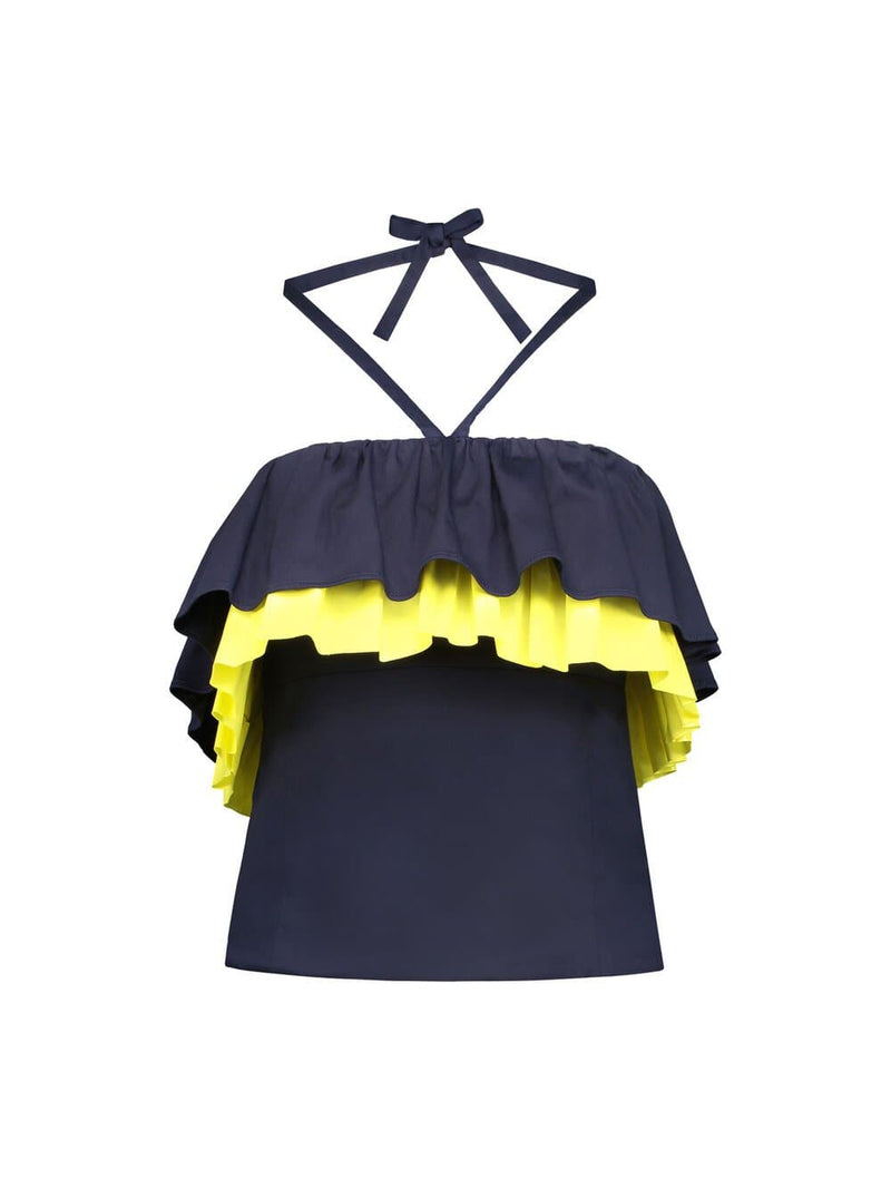 Front of strapless halter top with navy blue and yellow ruffles around the bust