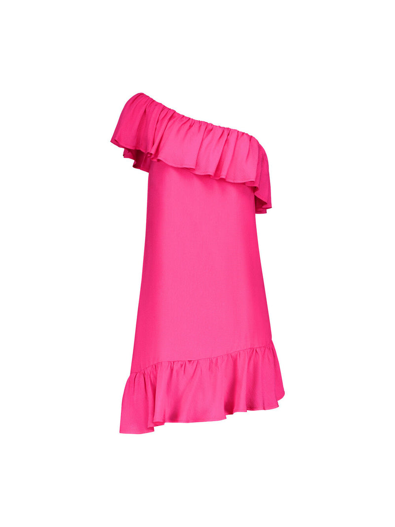 Bright fuchsia pink summer dress with ruffles